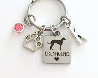 Greyhound KeyChain Hound Breeder Key Chain Gift for Dog Mom Keyring Doggie Puppy Jewelry charm Silver Initial Birthstone present Man Women
