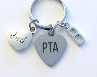 Gift for PTA Dad Key Chain, Parent Teacher Association Keychain, Volunteer Appreciation, Thank you Keyring, Initial Present School Family