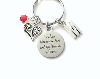 Gift for Aunt KeyChain, Nephew Key Chain, The love between an Aunt and her nephew is Forever Keyring Jewelry Initial letter present Auntie