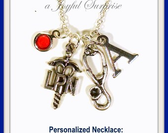 SALE - LPN Necklace Custom Nurse Jewelry Licensed Practical Gift Silver Charm Stethoscope Medical Symbol initial birthstone Personalized 201