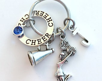 Cheer Keychain Cheerleading Key Chain, Gift for Cheerleader Keyring, Megaphone Jewelry initial birthstone birthday present circle charm Girl