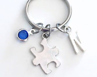 Puzzle Piece KeyChain Gift for Awareness Keyring Autistic Mother Jigsaw Key chain Jewelry charm Silver Initial Birthstone birthday present
