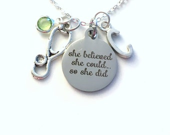 Gift for Nurse Necklace, She Believed She could so she did Jewelry Best Selling Item Quote Charm Sterling Silver Vet Medical Stethoscope her