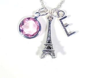 Personalized Eiffel Tower Necklace, Paris Jewelry, I love Paris Gift, Silver Charm Wedding Theme with initial & birthstone Women her bridal