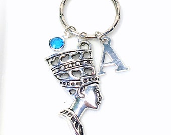 Nefertiti Keychain with initial birthstone Nefertiti Bust Gift Keyring Silver Egyptian Goddess Pendant Jewelry Purse Planner Charm key chain