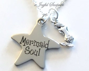 Mermaid Jewelry, Mermaid Soul Necklace, Marine Biologist Gift, Silver Mermaid Charm, Beach Wedding, Bridesmaid Gift, Maid of Honor BFF 45