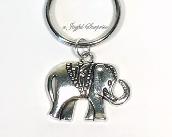 Elephant Keyring, Zoo Circus Animal Key chain, Ancient KeyChain, Pewter Silver Strength gifts, zookeeper gift Endurance Present teenage boy