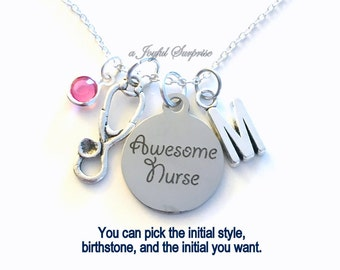 Gift for Awesome Nurse Jewelry, Nursing Necklace, Stethoscope Charm Custom Personalized Initial Birthstone birthday gift Christmas present