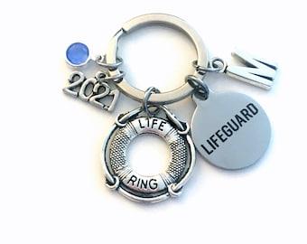 Graduation Gift for Lifeguard Keychain, Life Preserver Key Chain, New Swim Instructor Birthstone Initial Present Keyring 2021 Guard teacher