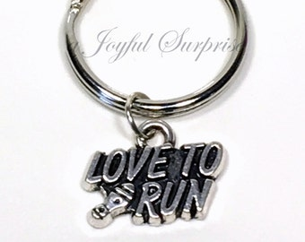 Track Runner KeyChain, Marathon Runner Jewelry, Love to Run Keyring, Key Chain, Pewter Gift for Athlete Gift, Pewter, Silver, Iron Man Gift