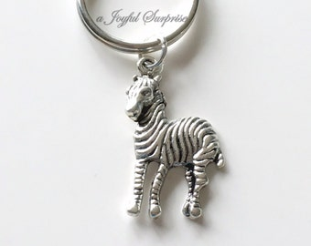 Zebra Key Chain, Animal Keychain Striped Zebra Keyring, Zebra Purse Charm Planner Charm Jewelry birthday present Christmas Gift silver