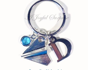 Paper Airplane Keychain, Air Plane Key Chain, Silver Pilot's Keyring Origami Gift for Best Friend Initial Birthstone Travel Agent Boy girl