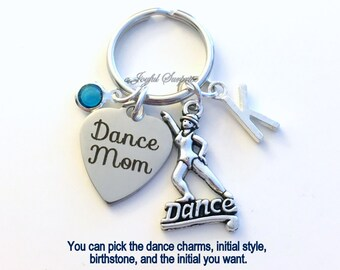 Jazz Dance Mom Keychain Contemporary Key Chain Silver Dancer Keyring Dancing Gift Tap Jewelry charm custom letter Initial Birthstone present