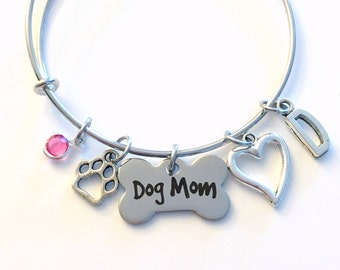 Dog Mom Bracelet, Doggie Charm Jewelry, Puppy Adjustable Bangle, Personalized Custom, Women Mom Her Paw Heart Silver Initial Birthstone