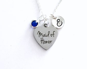 Maid of Honor Necklace, Silver Bridal Party Jewelry, Gift for Wedding Present, Bridesmaid Matron of Honour, Best Friend from Bride her BFF