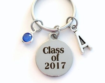 Class of 2017 Key Chain, or 2018 2019 2020 2016 Grad KeyChain, Gift for Graduate Graduation Keyring Birthstone Initial High School College