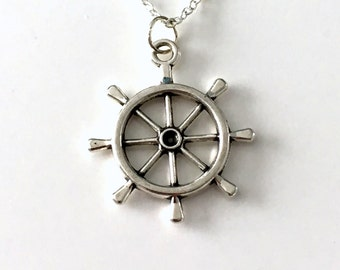 Ship Wheel Necklace, Helm Jewelry, Sailor Mariner, Nautical Gifts, Boat Marine Charm men boy necklace Sea Captain Beach Sailing Boating 74