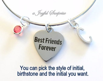 Best Friends Jewelry, BFF Forever Charm Bracelet Girlfriends Bangle Personalized Initial Birthstone birthday gift Christmas present Woman