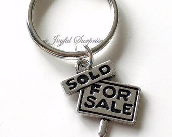 Real Estate Agent KeyChain Sold Sign Keychain House Sale Keyring New Realtor First home birthday present Christmas Gift purse charm planner