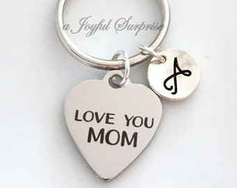 Mother's Day Keychain, Love you mom Keyring, Gift for Mum Key chain, Personalized Custom initial Letter Birthday Present from son daughter