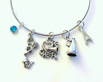 Cheerleader Bracelet, Cheerleading Jewelry Charm Bangle I love to Cheer Team Silver initial Gift for Teenage Daughter Teen Girl birthstone