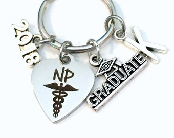 NP Graduation Present 2018 Gift, NP Keychain, NP Keyring for Nurse practitioner, Graduate Key chain Medical Caduceus initial letter 2017 him