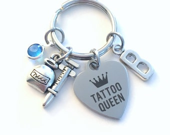 Tattoo Queen KeyChain, Ink Syringe Key Chain, Tattooist Artist Keyring, Initial birthstone present Birthday Personalized Her Women Woman