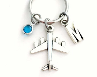 Airplane Keychain, Gift for Pilot, Personalized with initial Birthstone, Custom Jewelry Flight Attendant Gift Keyring Key Chain present 138