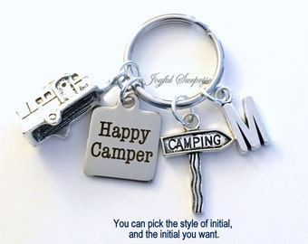Camping KeyChain, Happy Camper Key Chain, Gift for Camper Gift for Campground Friend, RV Trailer Keyring Staked Sign Arrow Custom Initial