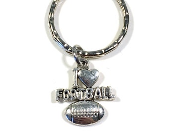 I Love Football KeyChain, Foot Ball Key chain, Gift for Player Dad Mom Coach  Athlete Keyring Present Key Ring Charm Varsity Team him her