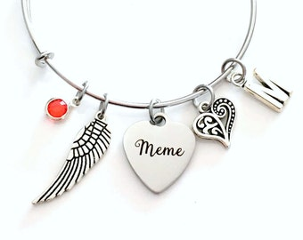 Guardian Angel Meme Charm Bracelet, Memorial Loss of Grandmother Jewelry bangle Silver Angel Wing letter Nana Mimi Grandma Grammy Granny Mom
