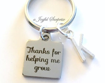 Thanks for helping me grow Gift Man Teacher Key Chain, Gift for Mentor Gift, Advisor Keyring, Birthday Present Initial custom Nanny Keychain