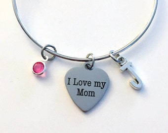Gift for Mom Charm Bracelet, I love my Mom Jewelry Mother Bangle Pendant initial Birthstone Birthday Present from daughter son kids children