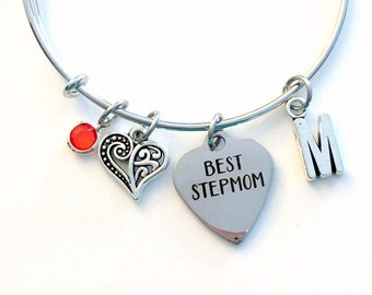 Gift for Best Step Mom Jewelry, Mother Charm Bracelet, Silver Bangle birthstone initial letter Birthday Present Mother of Bride Groom Women