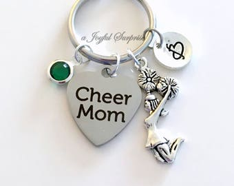 Cheer Mom Keychain, Gift for Cheerleading Mother Keyring, Personalized Custom, with letter initial women her pom pom team birthstone sport