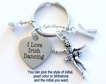 I love Irish Dancing KeyChain Irish Dance Keyring Key chain Gift for Highland Personalized Initial Birthstone birthday present Christmas