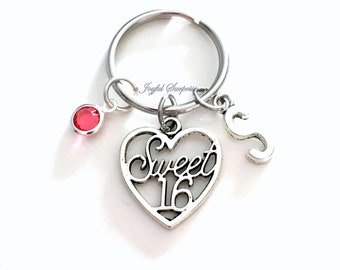 Sweet 16 KeyChain, Sixteen Keyring, Heart Key chain, Birthday Gift for Jewelry charm Custom Initial Birthstone birthday present Christmas 51