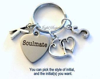 Soulmate Keychain, Soul Mate Gift Heart Key Chain Gift for Husband Anniversary Gift for Wife Keyring with 2 Initials Present Valentine's Day