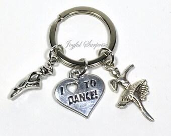 Ballerina Keychain, Ballet Dancer's Keyring, Ballet Key Chain, Gifts for Ballerina Gifts I love to dance pendant ballet slipper charm silver