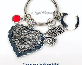 Gift for Step Mom Present, Special Mom Keyring, Valentine's Day Keychain Silver Butterfly Heart New Key chain Charm Personalized Birthday