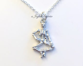 Skeleton Jewelry Bone Necklace, Halloween Jewelry Anatomy Gift Zombie Charm Skeletal System Gamer Boyfriend man birthday Christmas present