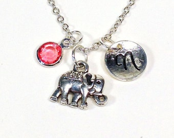 Elephant Necklace, Tiny Animal Jewelry Gift  Small Silver Charm Pendant, Personalized Circus Zoo Teenager Teen Girl initial birthstone 40