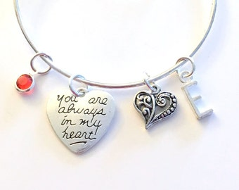 Gift for Niece from Aunt Uncle, You are always in my heart Bracelet, Goddaughter Charm Bangle Jewelry, Daughter Birthday Silver mom girl son
