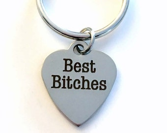 Best Bitches Gift for Best Friend Present, BFF Keyring, Bitchs Key Chain, Silver Purse Zipper charm stainless steel engraved Girl friend