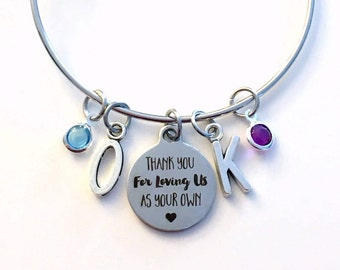 Gift for Step Mom Charm Bracelet, Thank you for loving us as your own Jewelry, Me Bangle Pendant initial Birthstone Birthday Present Mother