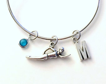 Swimmer's Charm Bracelet Bangle Swimming Swim Mom Jewelry Silver initial Gift for Daughter Team Girl Synchronize Initial birthstone Birthday