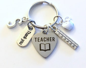 Gift for Teacher Thank you Present Keychain Teaching Student Key Chain Keyring apple ruler Thanks letter Initial customized personalized