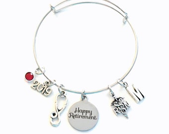 Retirement Gift for RN Nurse, 2019 Women Charm Bracelet Jewelry Silver Bangle Coworker letter Mom initial birthstone Retire Present