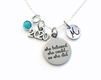 Graduation Gift for her Charm Necklace, 2020 Grad Jewelry, She Believed she could so she did Present Accomplishment silver her Retirement