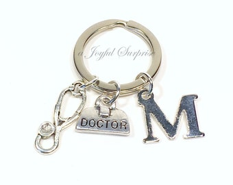 Doctor Keychain, Gift for Physician Keyring, Veterinarian Key Chain, Stethoscope Bag Charms, with Initial letter Father's Day Dad present